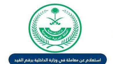 الاستعلام عن معاملة في وزارة الداخلية السعودية برقم القيد | ورقم الصادر